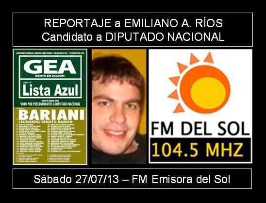 (Carmen de Areco) Emiliano Ríos, candidato a diputado nacional de GEA