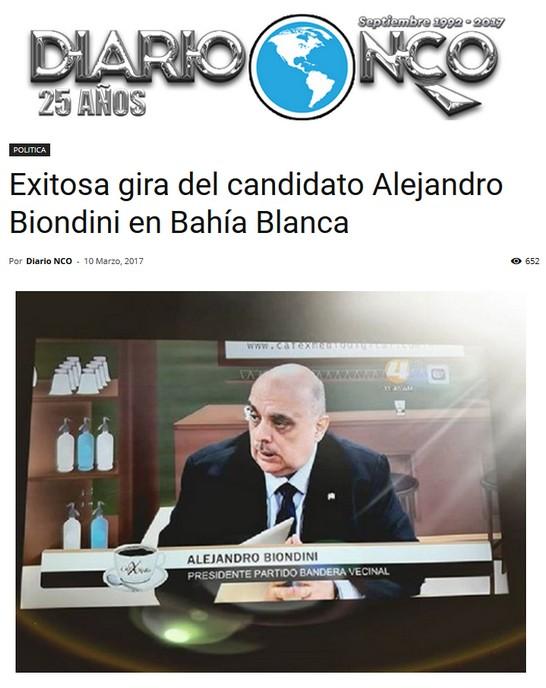 """(Diario NCO) """"Exitosa gira del candidato Alejandro Biondini en Bahía Blanca"""""""