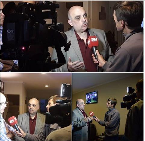 La llegada de Biondini a Coronel Suárez fue cubierta por la TV local